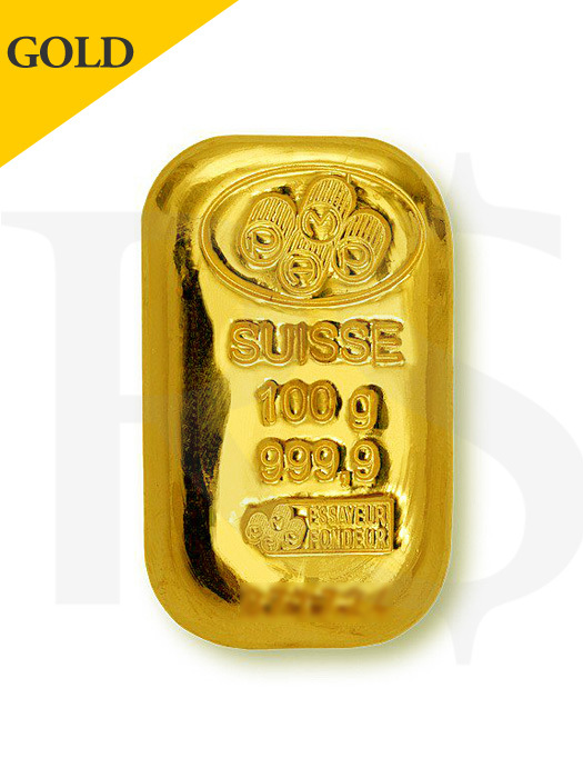 PAMP Suisse 100 gram Casting Gold Bar (With Assay Certificate)