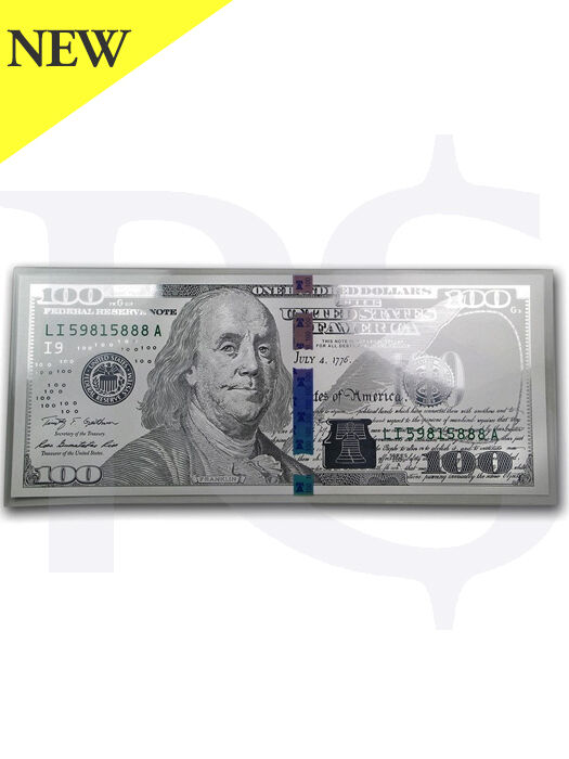 Benjamin Franklin 999 Silver Note 5 gram $100 Replica