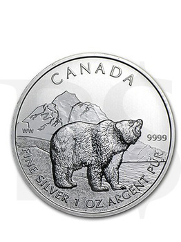 Canadian Wildlife Series: Grizzly Bear 1oz Silver Coin