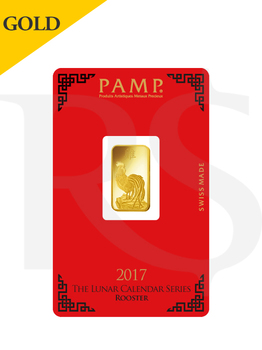 PAMP Suisse Lunar Rooster 5 gram Gold Bar (With Assay Certificate)
