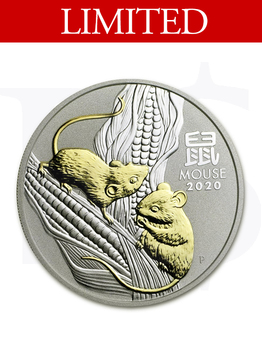 2020 Perth Mint Gold Gilded Mouse 1 oz Silver Coin
