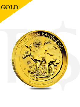 2021 Perth Mint Kangaroo 1/10oz 9999 Gold Coin