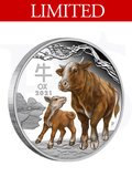 2021 Perth Mint Lunar Ox 1oz Coloured Silver Proof Coin
